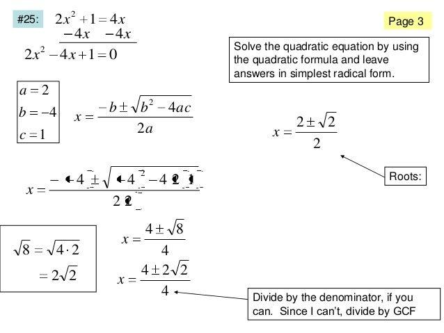 simplest form quadratic equations  Quadratic Formula