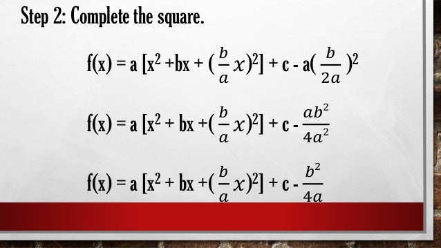 Transforming Quadratic Functions From General Form To Standard Form
