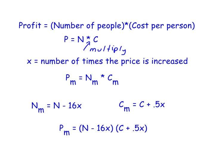 maximum profit quadratic functions Revenue function, profit function and maximum  cfind the maximum revenue a quadratic revenue function often occurs  determine the cost and profit functions.