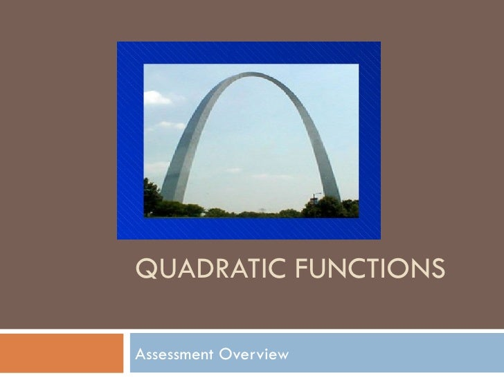 QUADRATIC FUNCTIONSAssessment Overview