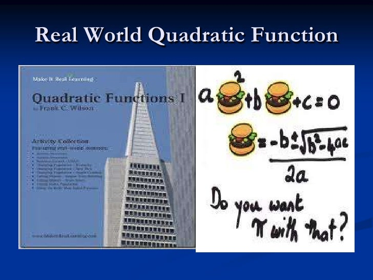 real world quadratic functions essay Quadratic functions 2 real world quadratic functions (title required on first line) quadratic functions are perhaps the best example of how math concepts can be combined into a single problem to solve these, rules for order of operations, solving equations, exponents, and radicals must be used.