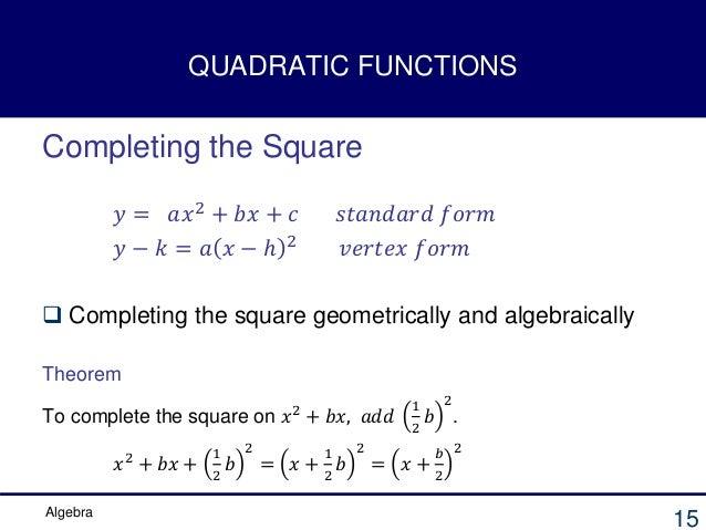 Quadratics 15 algebra 15 quadratic functions completing the square ccuart Image collections