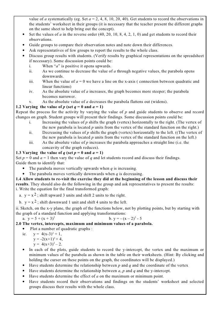 Quadratics in vertex form – Graphing Quadratic Functions in Vertex Form Worksheet