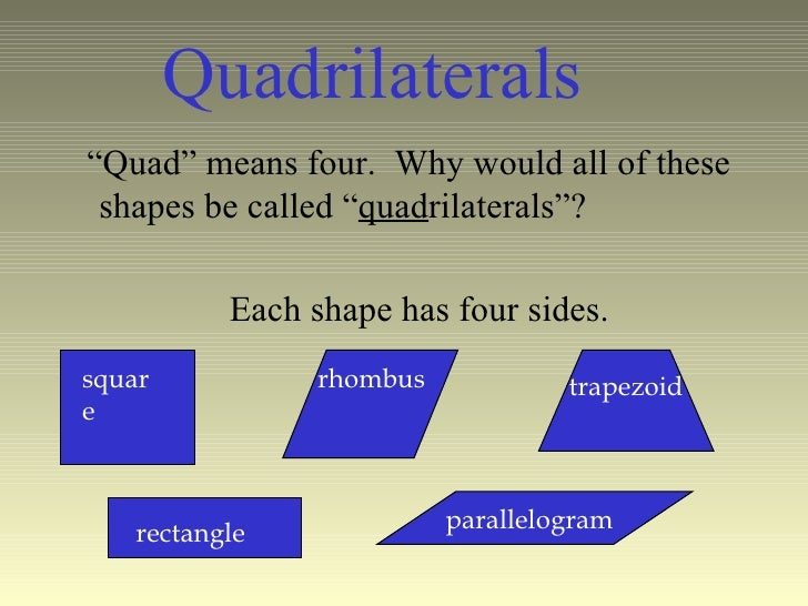 "Quad"" means four. Why would all of these shapes be called ... 