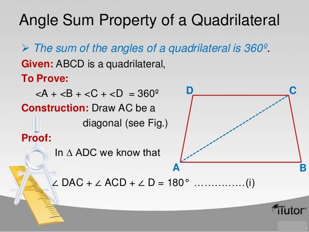 Quadrilaterals for Exterior angle property of a triangle proof