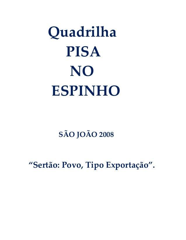 """Quadrilha PISA NO ESPINHO SÃO JOÃO 2008  """"Sertão: Povo, Tipo Exportação""""."""
