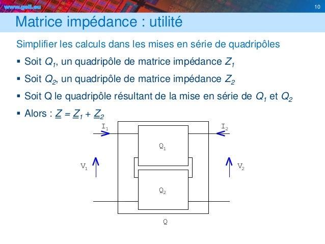 www.geii.eu 10 Matrice impédance : utilité Simplifier les calculs dans les mises en série de quadripôles  Soit Q1, un qua...
