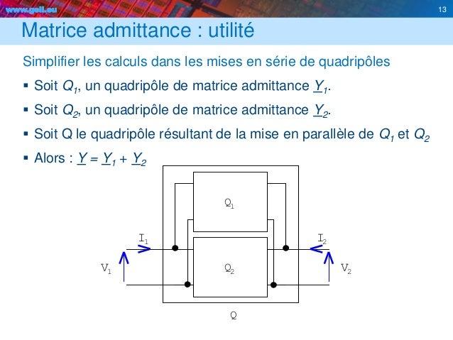 www.geii.eu 13 2 I V Q V I 1 1 1 2 Q2 Q Matrice admittance : utilité Simplifier les calculs dans les mises en série de qua...