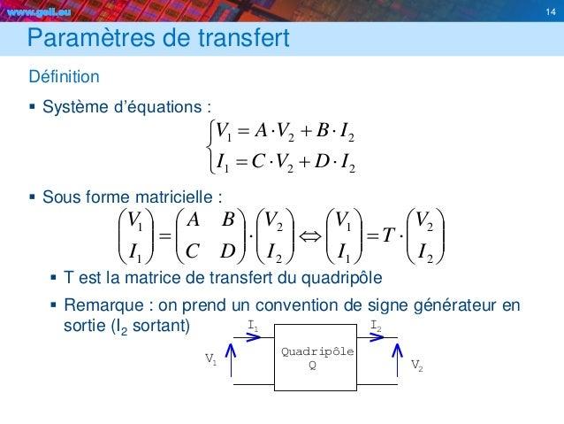 www.geii.eu 14 Paramètres de transfert Définition  Système d'équations :  Sous forme matricielle :  T est la matrice de...