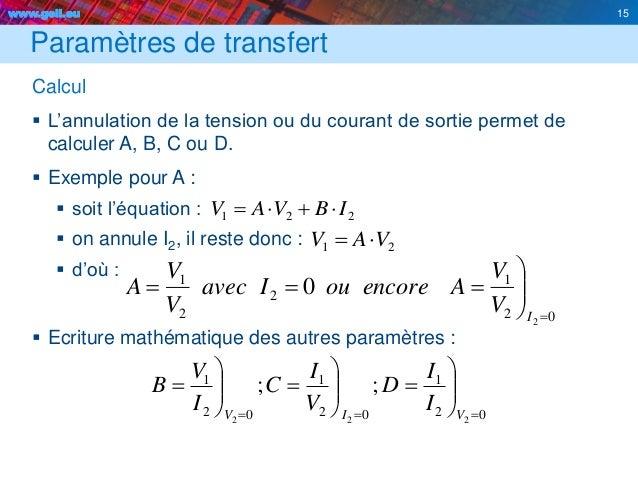 www.geii.eu 15 02 1 2 2 1 2 0      I V V AencoreouIavec V V A Paramètres de transfert Calcul  L'annulation de la ...