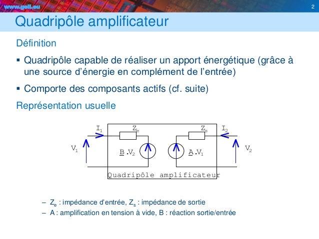 www.geii.eu 2 Quadripôle amplificateur Définition  Quadripôle capable de réaliser un apport énergétique (grâce à une sour...