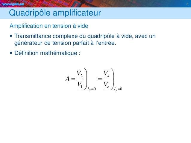 www.geii.eu 5 Quadripôle amplificateur Amplification en tension à vide  Transmittance complexe du quadripôle à vide, avec...