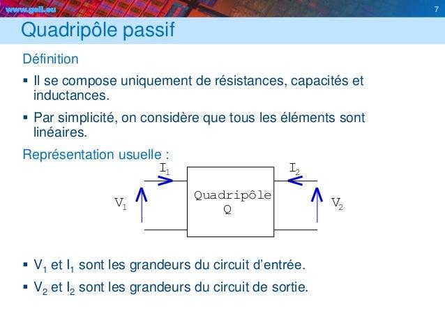 www.geii.eu 7 QV I I 2V 2 1 Quadripôle 1 Quadripôle passif Définition  Il se compose uniquement de résistances, capacités...