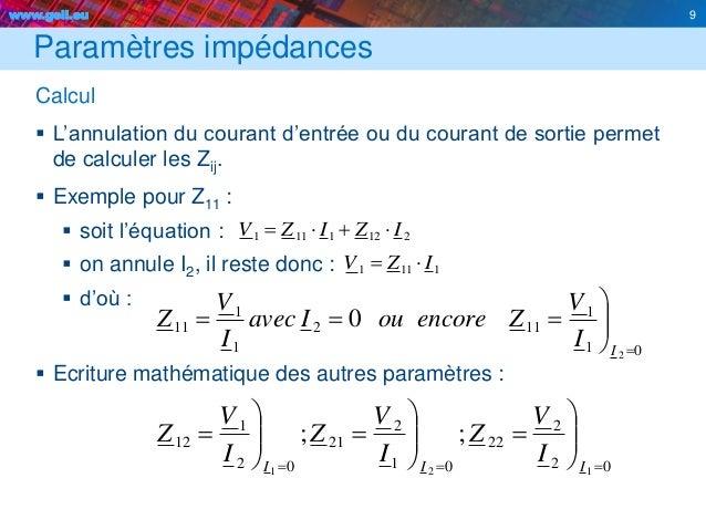 www.geii.eu 9 Paramètres impédances Calcul  L'annulation du courant d'entrée ou du courant de sortie permet de calculer l...