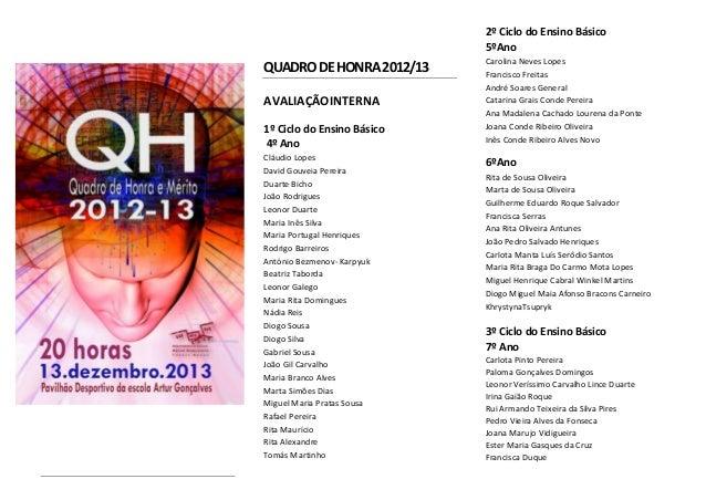 2º Ciclo do Ensino Básico 5ºAno  QUADRO DE HONRA 2012/13 AVALIAÇÃOINTERNA 1º Ciclo do Ensino Básico 4º Ano Cláudio Lopes D...
