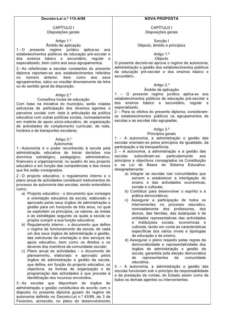 Decreto-Lei n.º 115-A/98                                      NOVA PROPOSTA                       CAPÍTULO I              ...