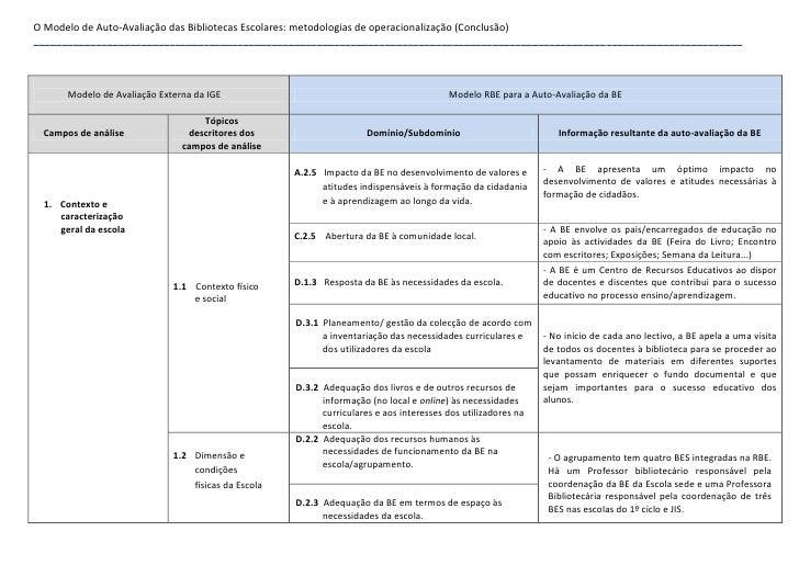 O Modelo de Auto-Avaliação das Bibliotecas Escolares: metodologias de operacionalização (Conclusão) ______________________...