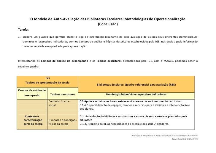 O MODELO DE AUTO-AVALIAÇÃO DA BE: METODOLOGIAS DE OPERACIONALIZAÇÃO (CONCLUSÃO)