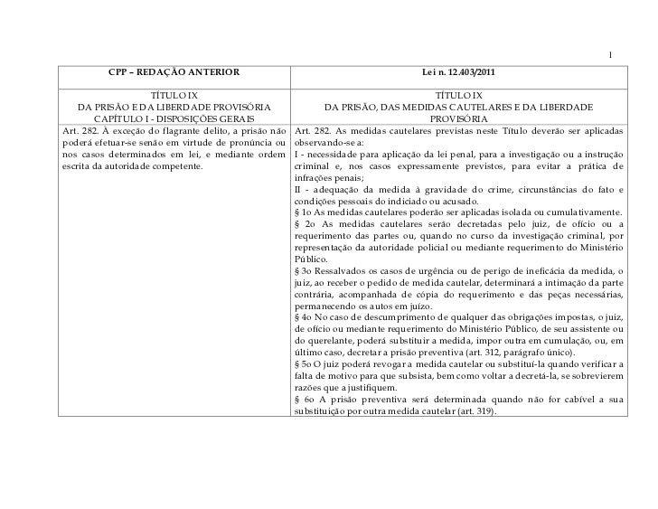 1          CPP – REDAÇÃO ANTERIOR                                                      Lei n. 12.403/2011                 ...
