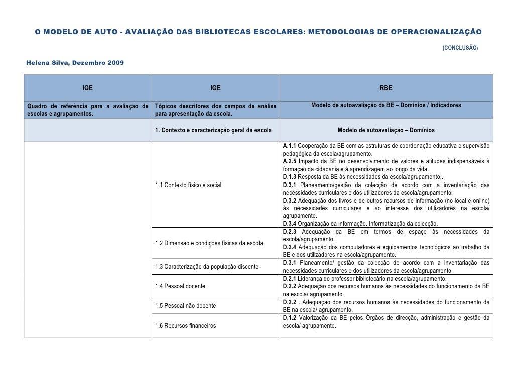 O MODELO DE AUTO - AVALIAÇÃO DAS BIBLIOTECAS ESCOLARES: METODOLOGIAS DE OPERACIONALIZAÇÃO                                 ...