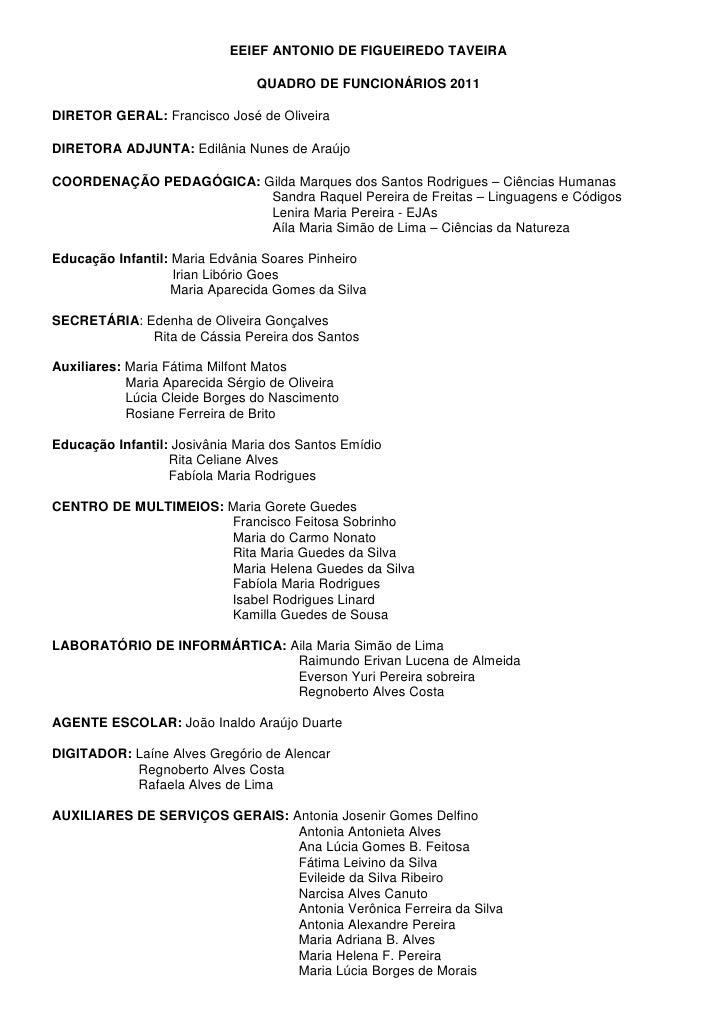 EEIEF ANTONIO DE FIGUEIREDO TAVEIRA                                QUADRO DE FUNCIONÁRIOS 2011DIRETOR GERAL: Francisco Jos...