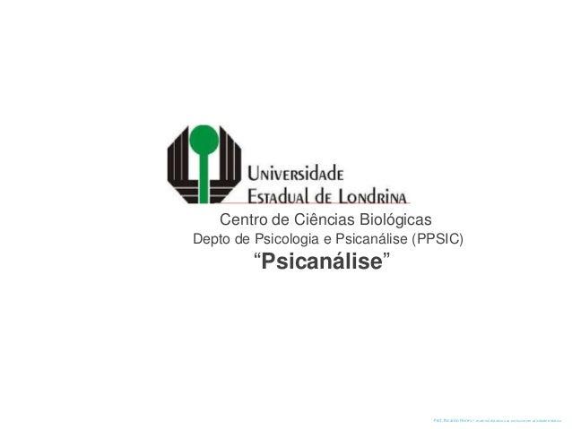 """Centro de Ciências Biológicas Depto de Psicologia e Psicanálise (PPSIC) """"Psicanálise"""" Prof. Ricardo Flores – material didá..."""