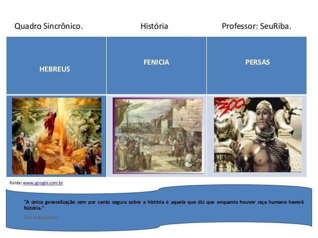 """HEBREUS FENICIA PERSAS Quadro Sincrônico. História Professor: SeuRiba. Fonte: www.google.com.br """"A única generalização cem..."""