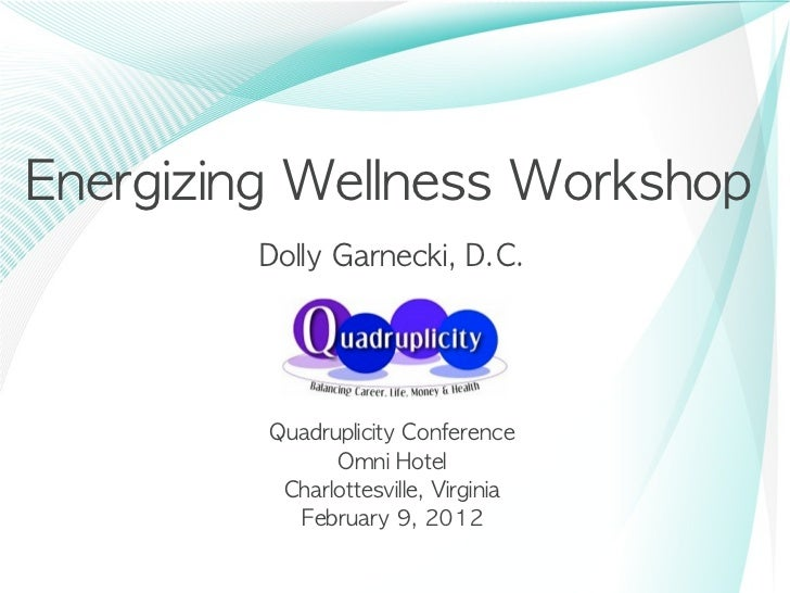 Energizing	 Wellness	 Workshop         Dolly	 Garnecki,	 D.C.          Quadruplicity	 Conference                Omni	 Hote...