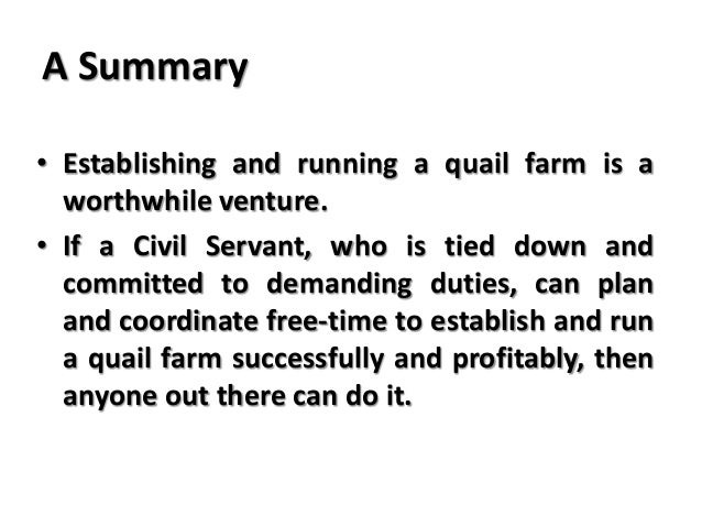quail farming and the strategy of productive time