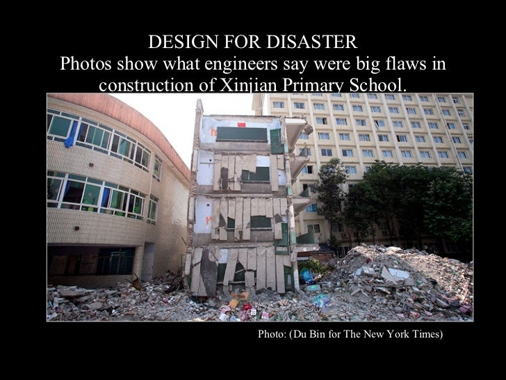 DESIGN FOR DISASTER Photos show what engineers say were big flaws in construction of Xinjian Primary School. Photo: (Du Bi...