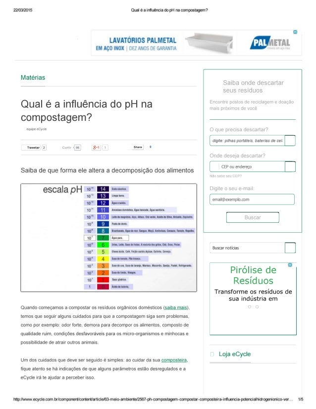 22/03/2015  LAVATÓRIOS FALMETAL EM Aço INOX n52 ; XMÉLS : e lãARFililT   Matérias  Qual é a influência do pH na compostage...