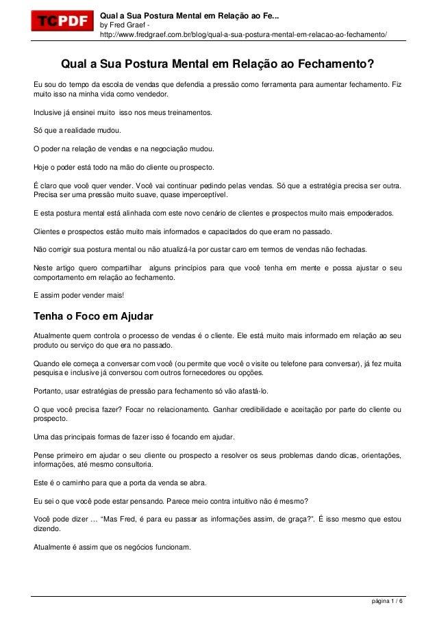 Qual a Sua Postura Mental em Relação ao Fe... by Fred Graef - http://www.fredgraef.com.br/blog/qual-a-sua-postura-mental-e...