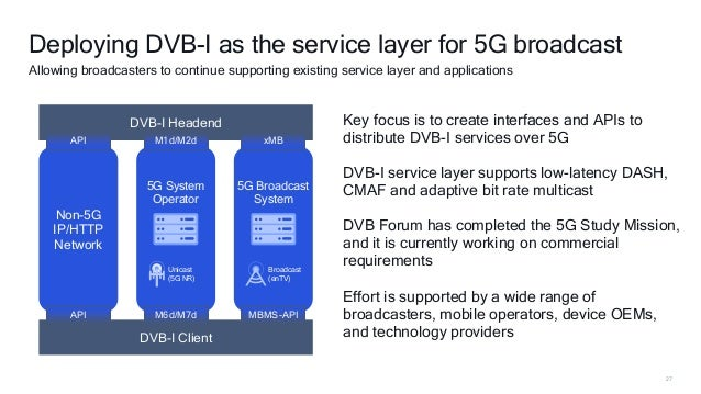 27 Deploying DVB-I as the service layer for 5G broadcast Allowing broadcasters to continue supporting existing service lay...