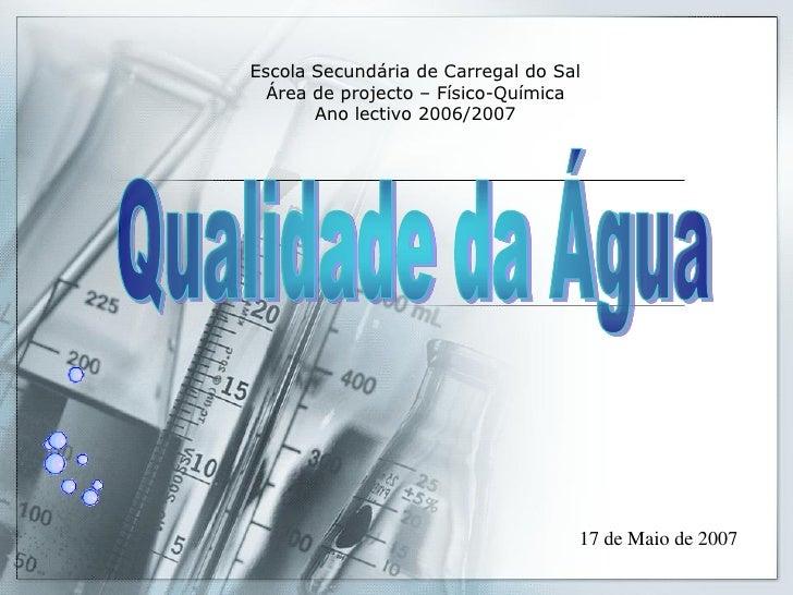 Escola Secundária de Carregal do Sal   Área de projecto – Físico-Química        Ano lectivo 2006/2007                     ...