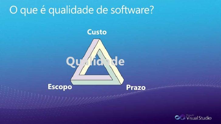 O que é qualidade de software?<br />Entregar o que o clienteespera?<br />Nãoestourar o prazo de entrega?<br />Nãopossuir B...