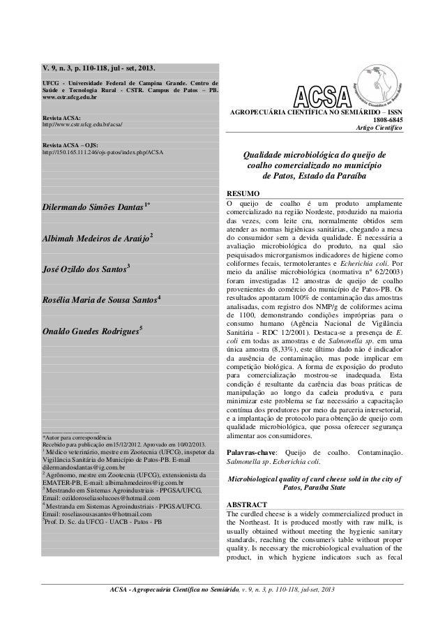 V. 9, n. 3, p. 110-118, jul - set, 2013. UFCG - Universidade Federal de Campina Grande. Centro de Saúde e Tecnologia Rural...