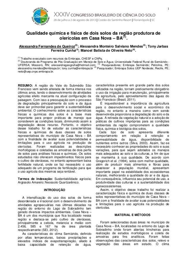 1  Qualidade química e física de dois solos da região produtora de olerícolas em Casa Nova – BA(1). Alexsandra Fernandes d...