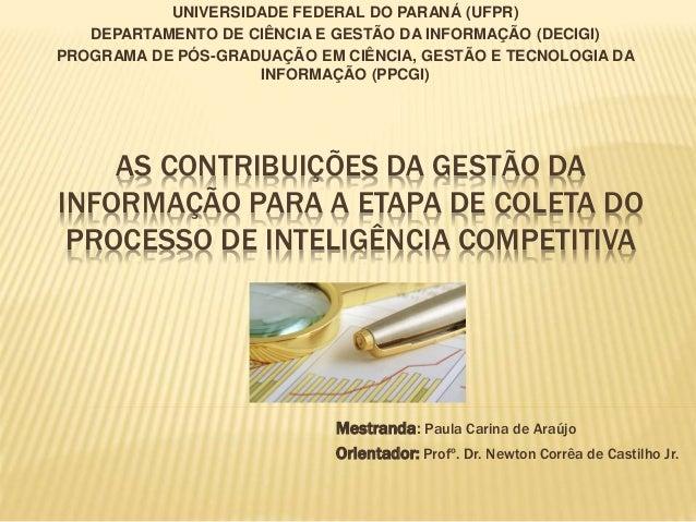 UNIVERSIDADE FEDERAL DO PARANÁ (UFPR) DEPARTAMENTO DE CIÊNCIA E GESTÃO DA INFORMAÇÃO (DECIGI) PROGRAMA DE PÓS-GRADUAÇÃO EM...