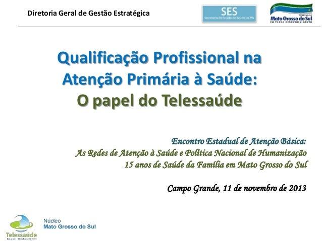 Diretoria Geral de Gestão Estratégica  Qualificação Profissional na Atenção Primária à Saúde: O papel do Telessaúde Encont...