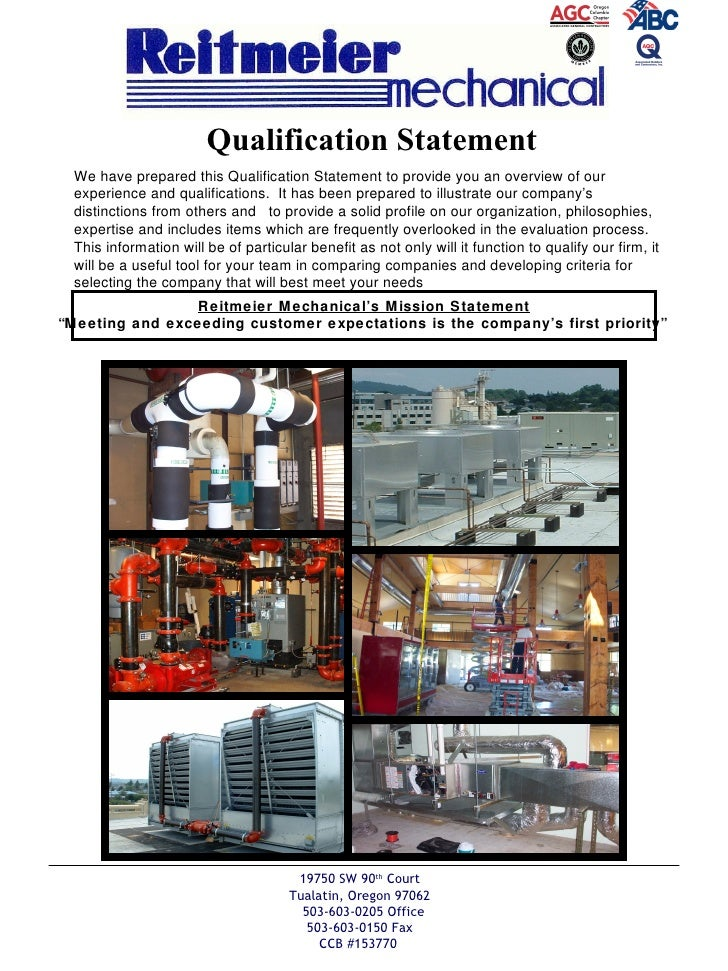 """Reitmeier Mechanical's Mission Statement """"Meeting and exceeding customer expectations is the company's first priority""""   1..."""