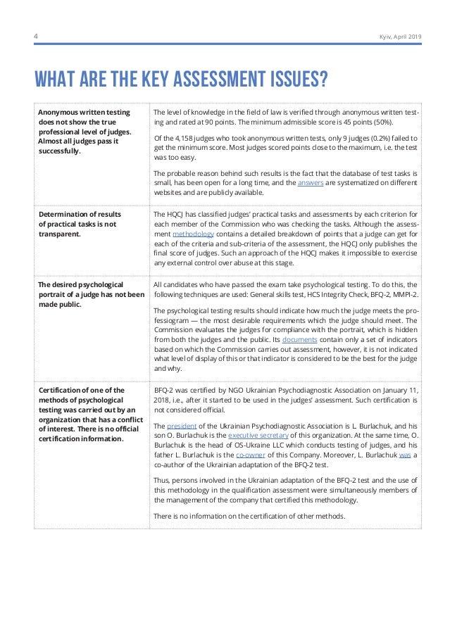 Qualification Assessment of Judges: SUMMARY OF INTERIM