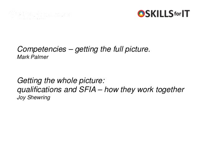 Competencies – getting the full picture.Mark PalmerGetting the whole picture:qualifications and SFIA – how they work toget...