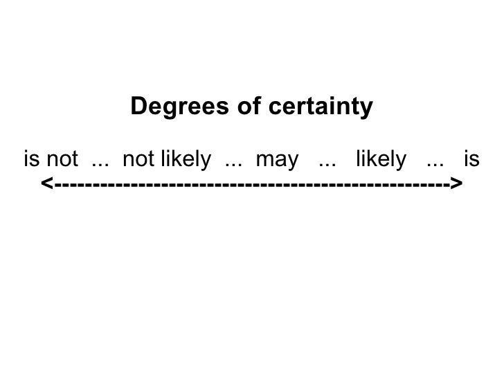 Degrees of certainty is not  ...  not likely  ...  may  ...  likely  ...  is <--------------------------------------------...