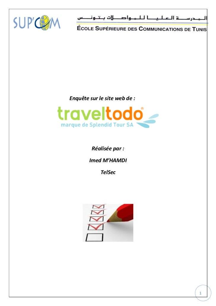 Enquête sur le site web de :         Réalisée par :        Imed M'HAMDI             TelSec                               1