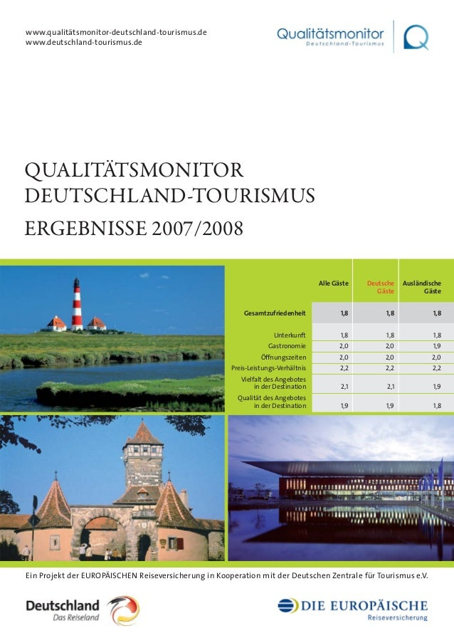 QUALITÄTSMONITOR DEUTSCHLAND-TOURISMUS ERGEBNISSE 2007/2008 Ein Projekt der EUROPÄISCHEN Reiseversicherung in Kooperation ...