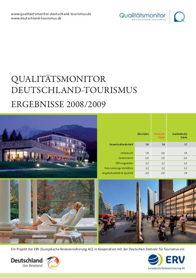 QUALITÄTSMONITOR DEUTSCHLAND-TOURISMUS ERGEBNISSE 2008/2009 Ein Projekt der ERV (Europäische Reiseversicherung AG) in Koop...