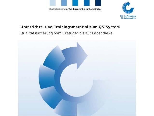 Unterrichts- und Trainingsmaterial zum QS-System Qualitätssicherung vom Erzeuger bis zur Ladentheke