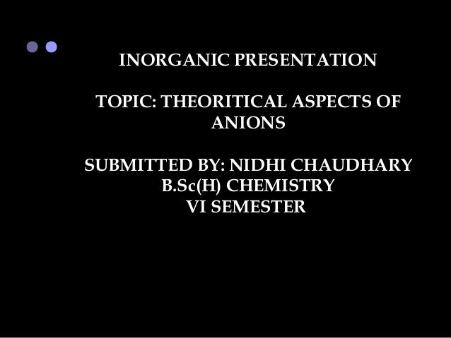 INORGANIC PRESENTATION TOPIC: THEORITICAL ASPECTS OF            ANIONSSUBMITTED BY: NIDHI CHAUDHARY      B.Sc(H) CHEMISTRY...