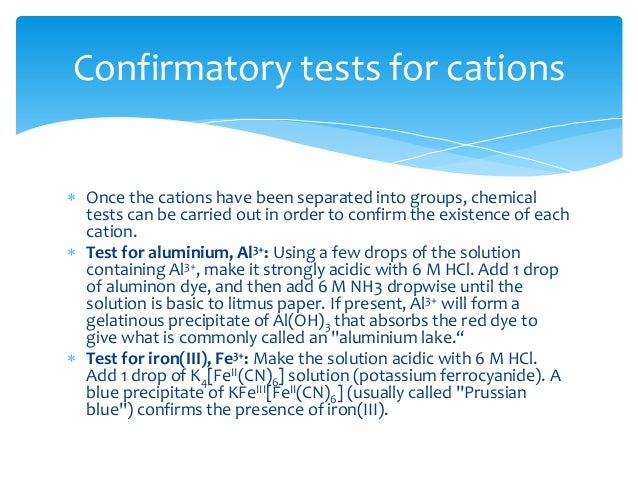 qualitative cation test 1 experiment 12: qualitative analysis of cations pre-laboratory assignment the pre-lab assignment for part a of the experiment is to complete the flow chart.