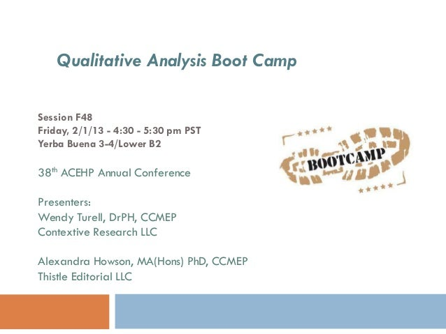 Qualitative Analysis Boot CampSession F48Friday, 2/1/13 - 4:30 - 5:30 pm PSTYerba Buena 3-4/Lower B238th ACEHP Annual Conf...